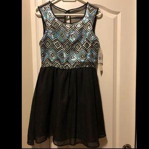 Sequin Top/Black Skirt Mini Dress